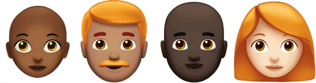 A dizzying spectrum of baldness and carrot-colored locks for the new emoji.