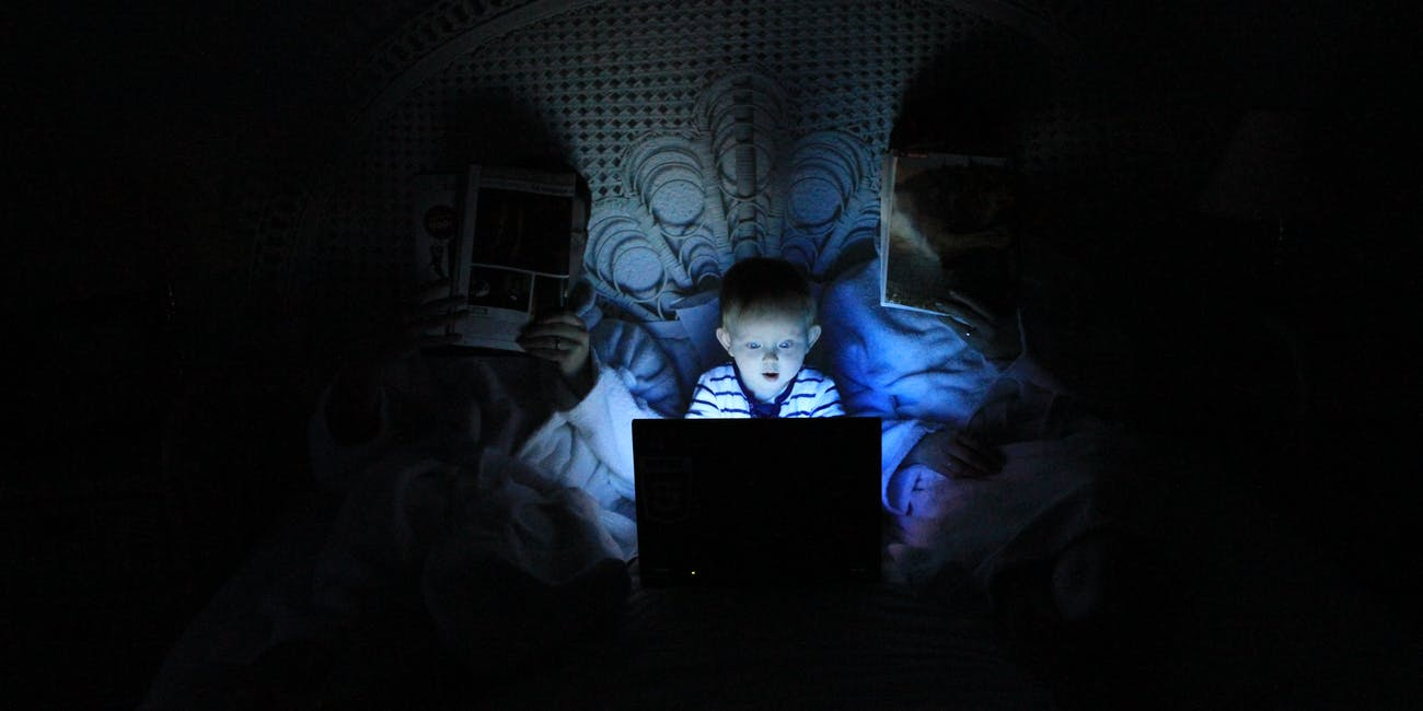 using a computer in bed