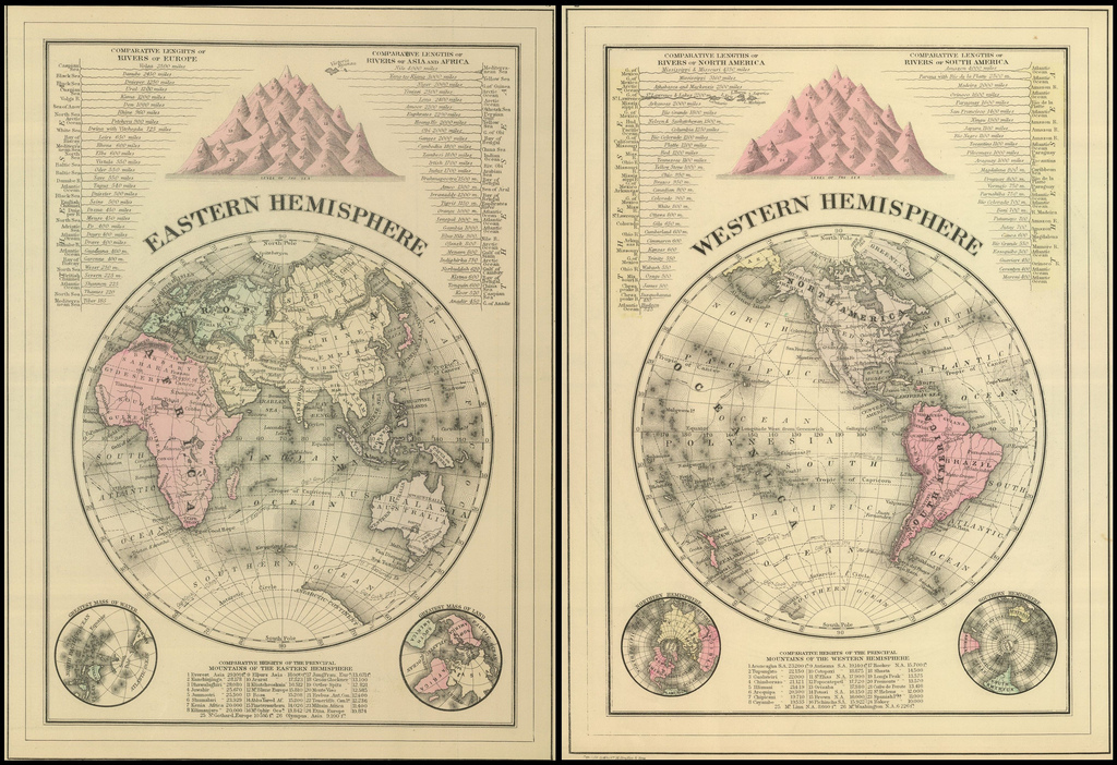Eastern and Western Hemispheres, 1883.
