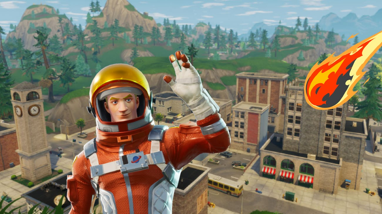 Lots of 'Fortnite' players think an asteroid is about to destroy Tilted Towers.