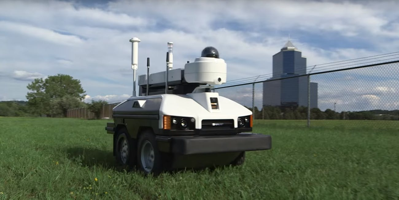 sharp intellos a-ugv unmanned ground vehicle smart drone security robot pot weed jazz cabbage
