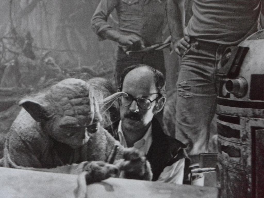 Frank Oz with Yoda on the set of 'The Empire Strikes Back'