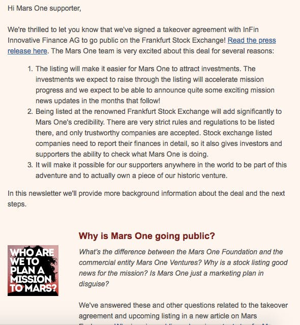 A Mars One fundraising message.