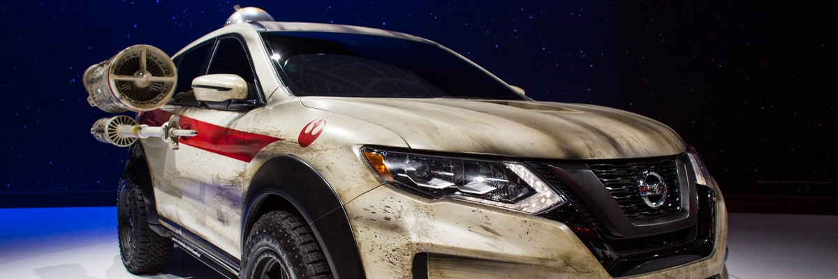 The Nissan Rogue, inspired by the X-Wing in Star Wars.