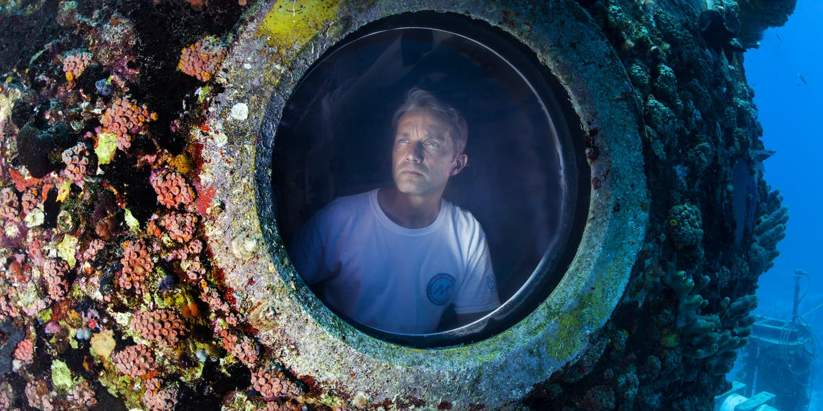 Fabien Cousteau during his record-breaking month underwater.