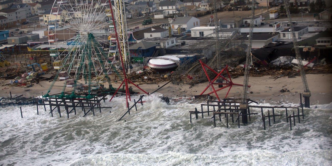 A New Jersey beach after Hurricane Sandy, high tide flood