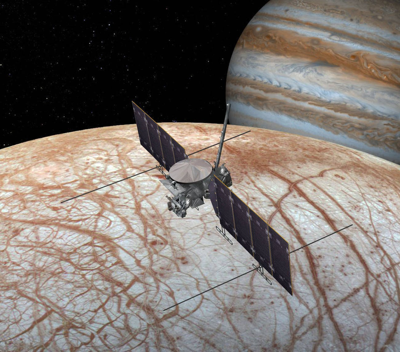 NASA found something interesting on Europa, it might find more with an unmanned probe, like the one depicted here.