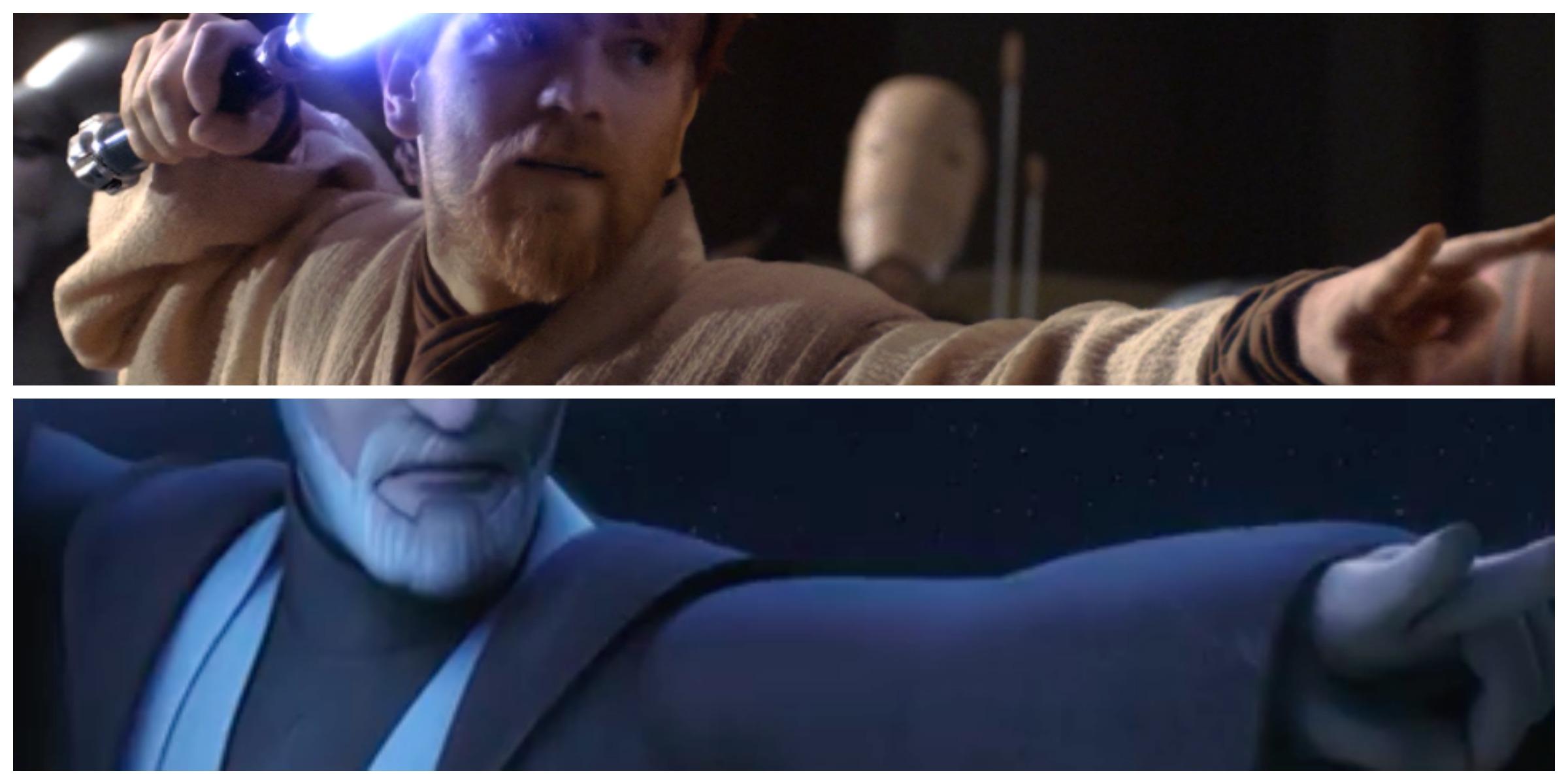 TOP: Obi-Wan in EP III BOTTOM: Obi-Wan in the new trailer