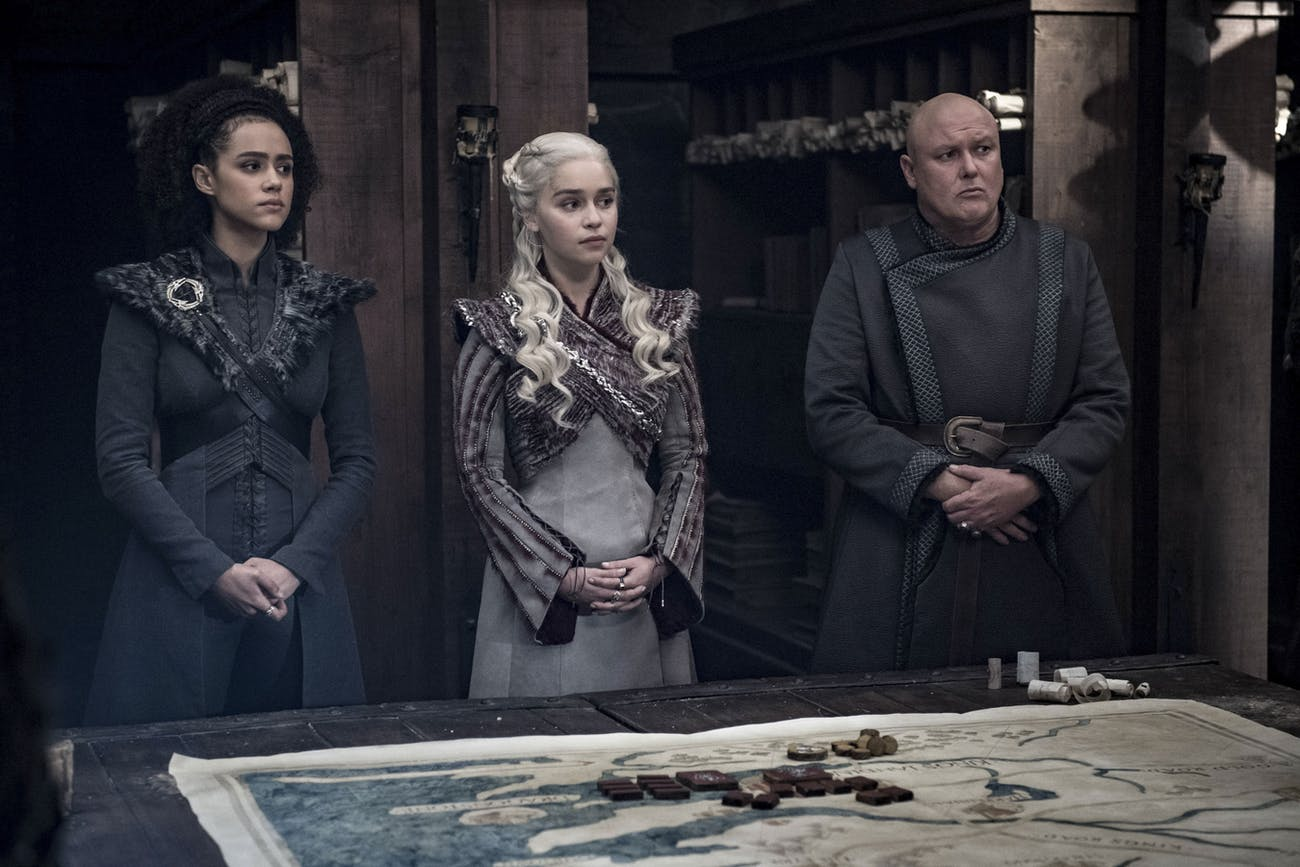In official photo from Episode 4 showing Daenerys with two other advisers (Varys and Missandei), Tyrion is nowhere to be seen.