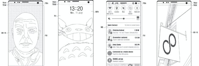 Multiple mockups found in a Samsung patent of an all-screen phone.