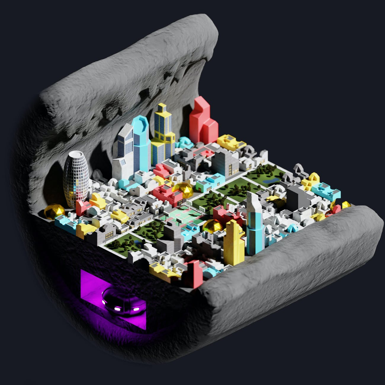 The sub-surface lunar city.