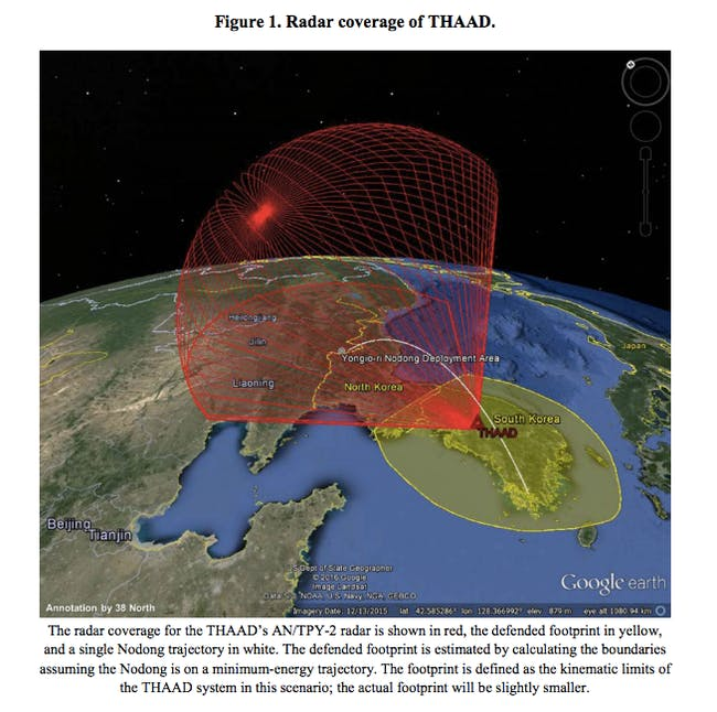 38 North's projections of the THAAD's radar coverage over North Korea and China.