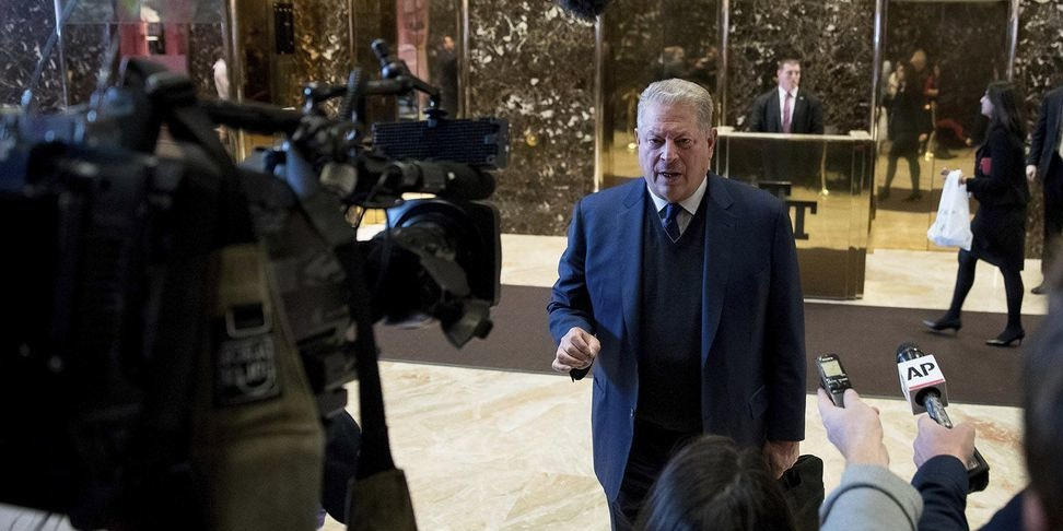 NEW YORK, NY - DECEMBER 5:  Former Vice President Al Gore arrives at Trump Tower on December 5, 2016 in New York City. President-elect Donald Trump has been holding daily meetings at the luxury high rise that bears his name since his election in November. (Photo by Kevin Hagen/Getty Images)