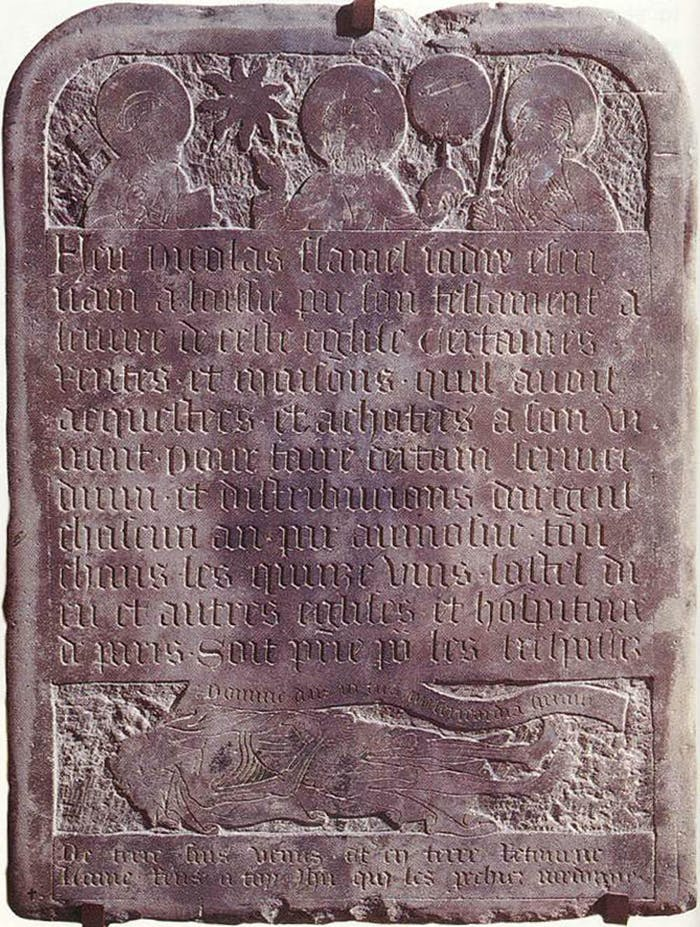 The tombstone of Nicolas Flamel