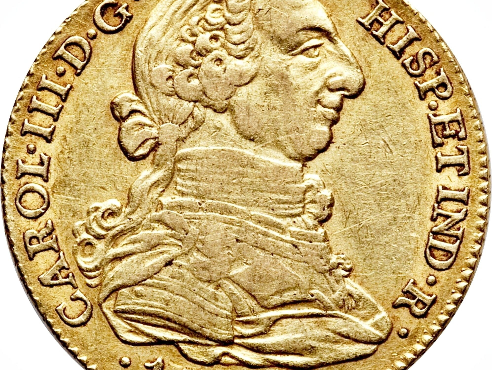 Spanish gold 4-doubloon coins.