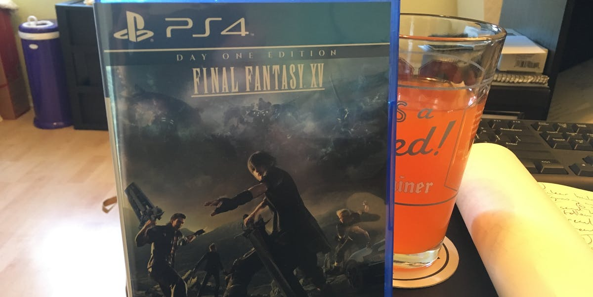 Just me, my copy of 'Final Fantasy XV', and a cool, refreshing glass of Wiz.