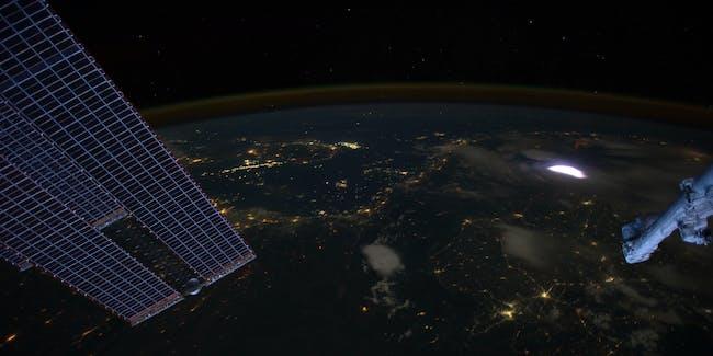 Lightning sprite from international space station