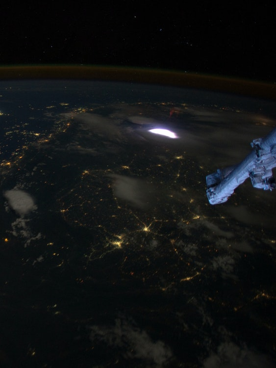 Lightning sprite from international space station