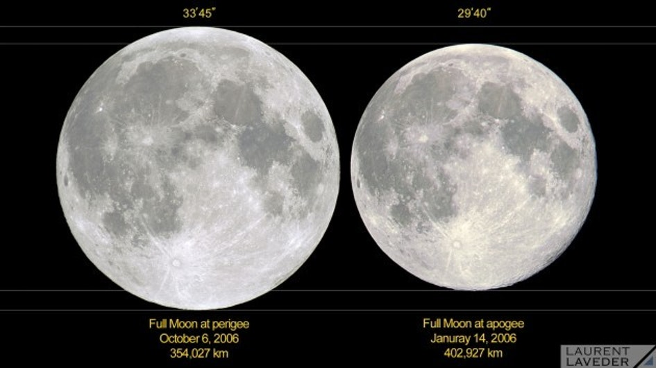 A comparison of the Moon at perigee (its closest to Earth, at left) and at apogee (its farthest from us).