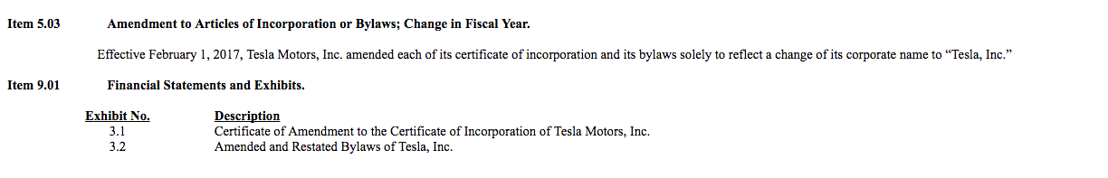 An excerpt from Tesla's name change application saying what it did to change its name.