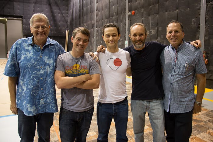 Director Bob Zemeckis, visual effects supervisor Kevin Baillie, actor Joseph Gordon-Levitt and producers Steve Starkey and Jack Rapke on the set of The Walk.