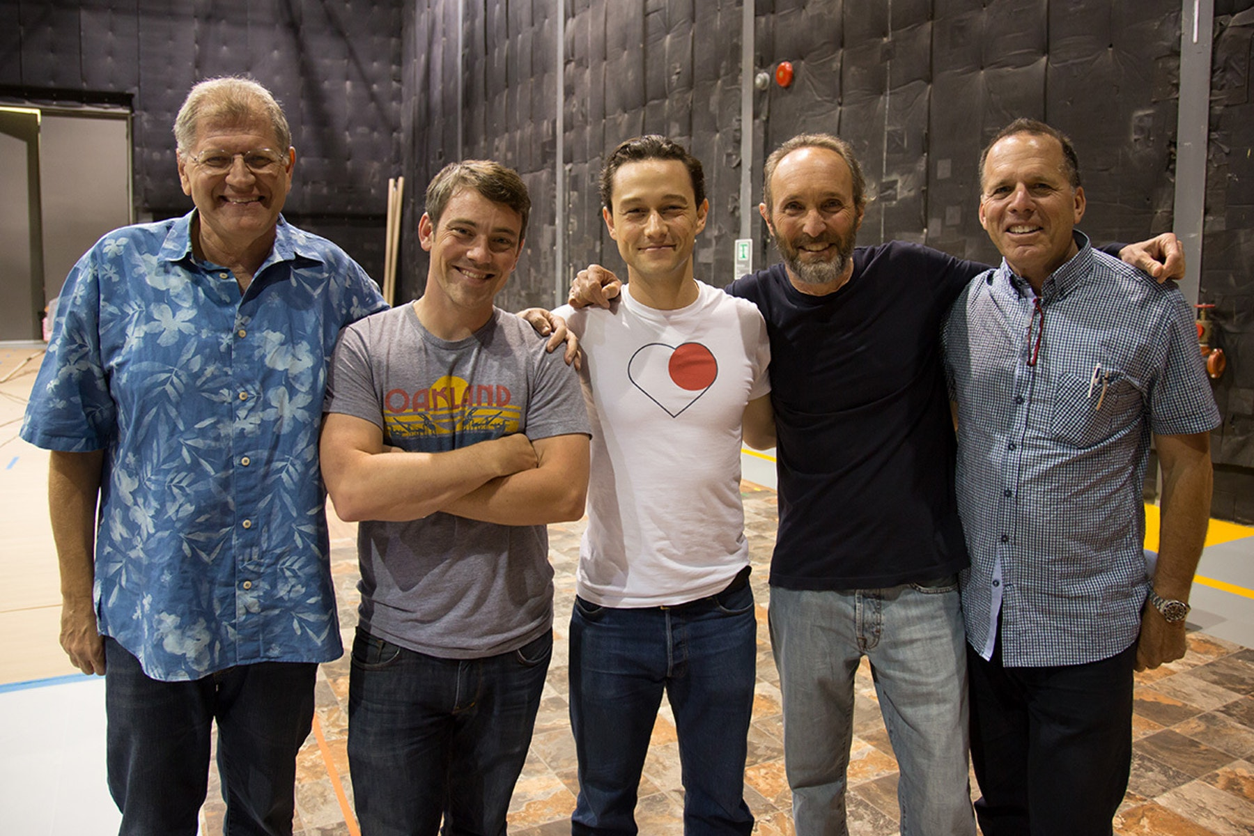 Director Bob Zemeckis, visual effects supervisor Kevin Baillie, actor Joseph Gordon-Levitt and producers Steve Starkey and Jack Rapke on the set of The Walk.
