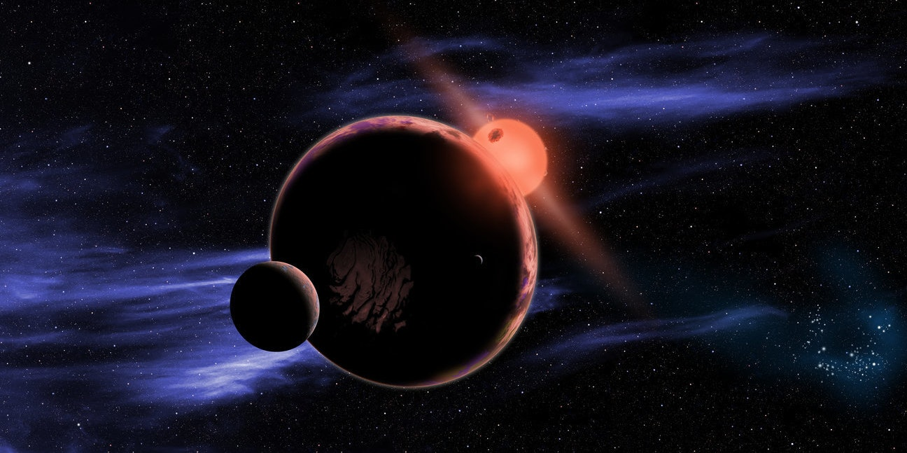 Artist's conception of planet orbiting red dwarf star