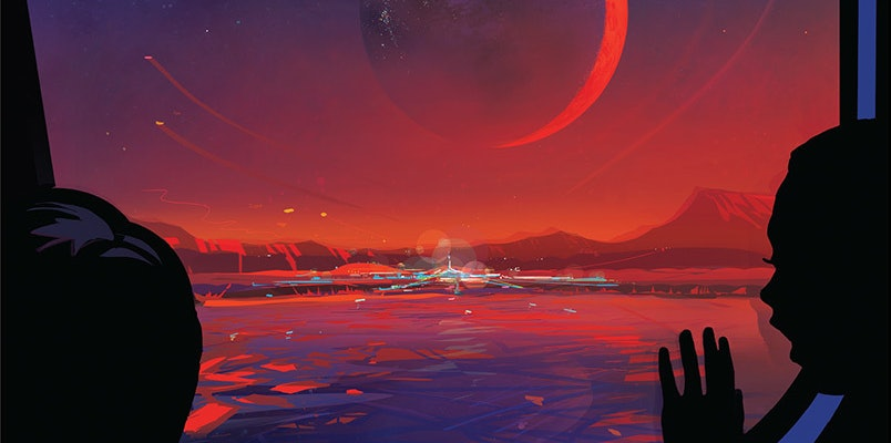 NASA released a tourist poster of TRAPPIST-1e, an Earth-like planet in the habitable zone of the star TRAPPIST-1.