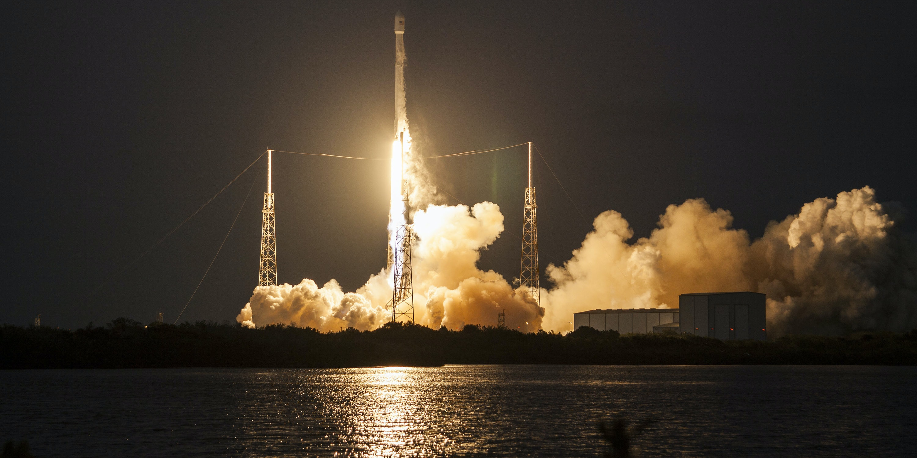 In this handout provided by NASA, SpaceX's Falcon 9 rocket makes a successful launch with the SES-9 communications satellite on March 4, 2016 in Cape Canaveral, Florida.