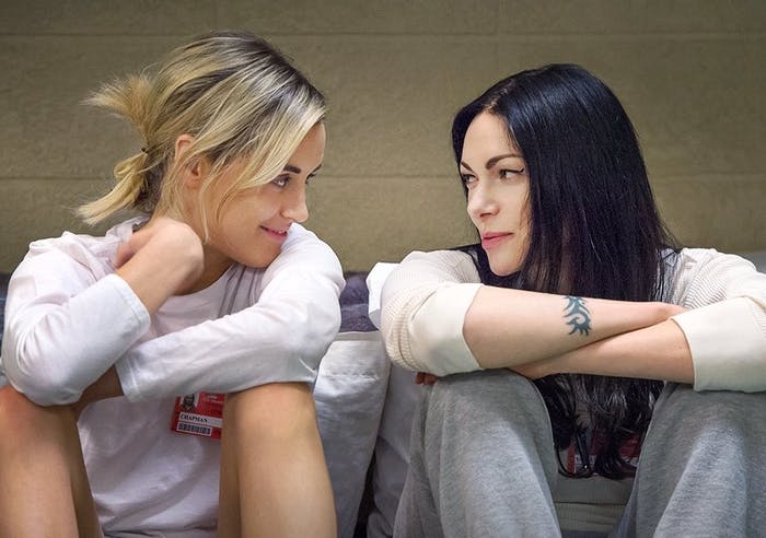 Taylor Schilling and Laura Prepon in 'Orange Is The New Black'