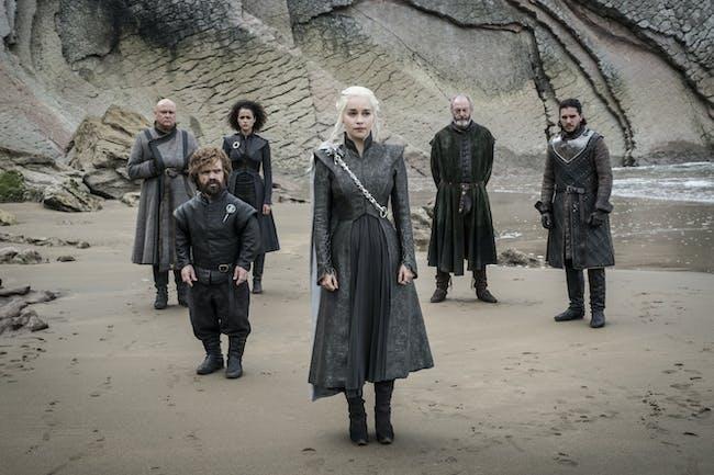 Alfie Allen as Theon Greyjoy and Kit Harington, and Emilia Clarke in 'Game of Thrones' Season 7 episode 4