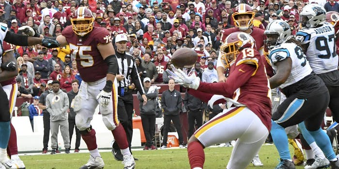 Washington Redskins wide receiver Maurice Harris (13) makes a second half reception despite juggling the ball against the Carolina Panthers on October 14, 2018, at FedEx Field in Landover, MD. The Washington Redskins defeated the Carolina Panthers 23-17.