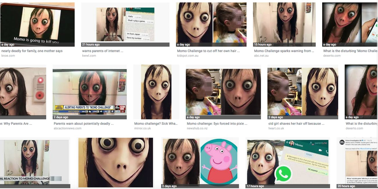 Google Image Search results the level of reporting on the Momo Challenge.