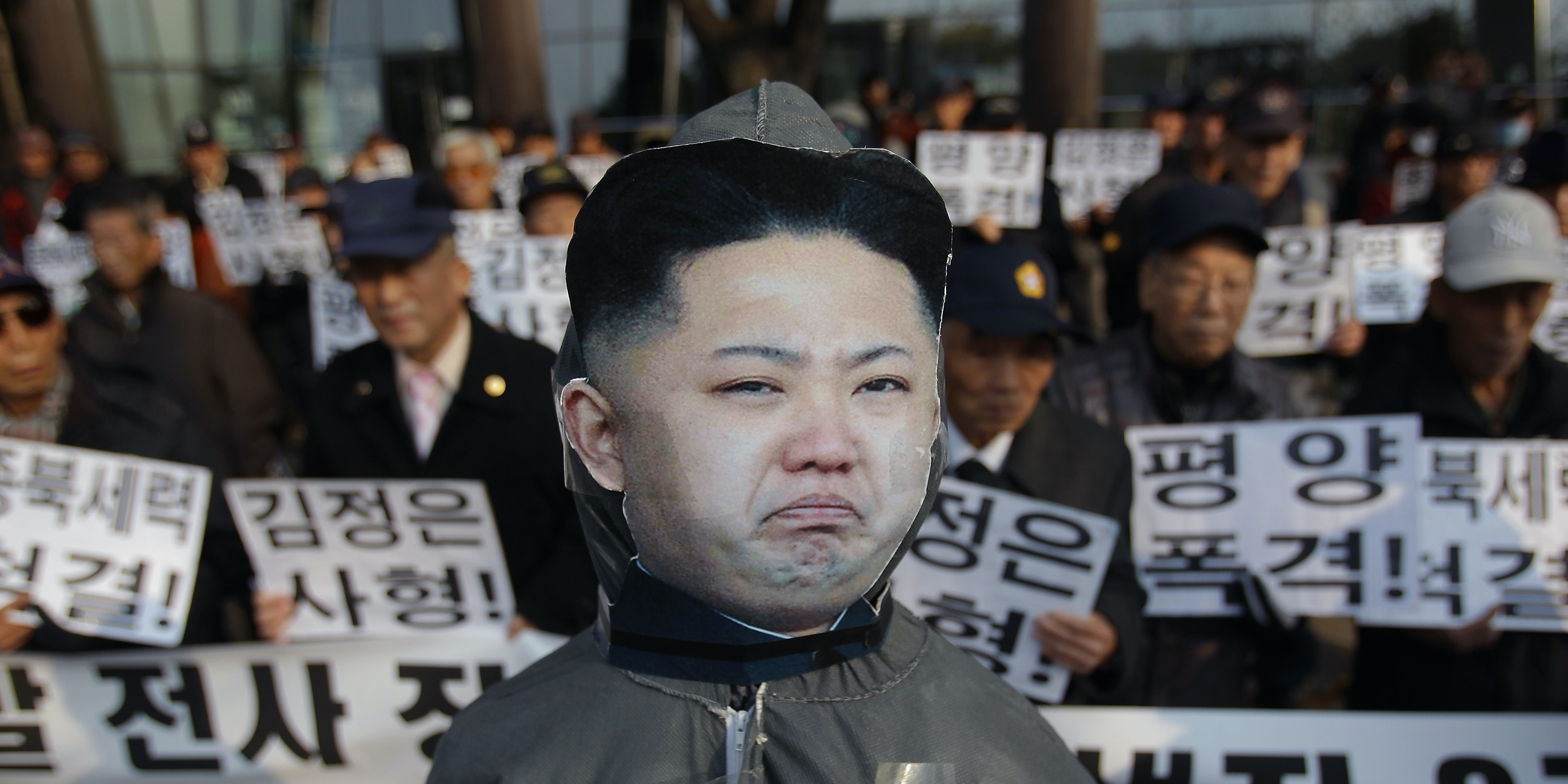 SEOUL, SOUTH KOREA - NOVEMBER 23:  The effigy of North Korean leader Kim Jong-Un is seen during an anti-North rally commemorating the four people killed in a 2010 attack by North Korea in Yeonpyeong on November 23, 2013 in Seoul, South Korea. On November 23, 2010, North Korea fired a barrage of artillery during South Korean military drill on the border island of Yeonpyeong, killing four people, including two civilians and two South Korean marines.  (Photo by Chung Sung-Jun/Getty Images)