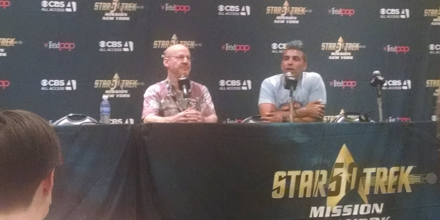 Phil Plait and Bobak Ferdowsi at Star Trek: Mission New York
