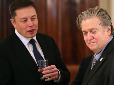 What is Elon Musk Telling Steve Bannon in This Photo? A Few Guesses
