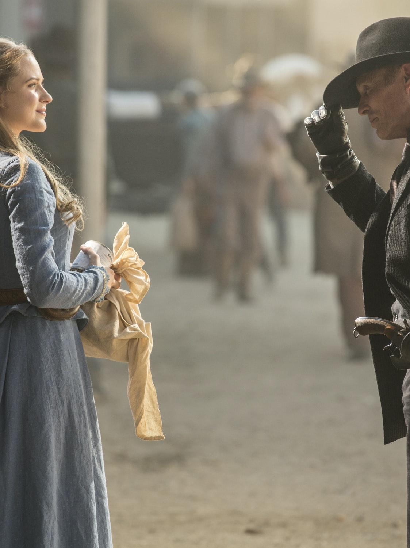 """Evan Rachel Wood and Ed Harris in """"Westworld"""""""