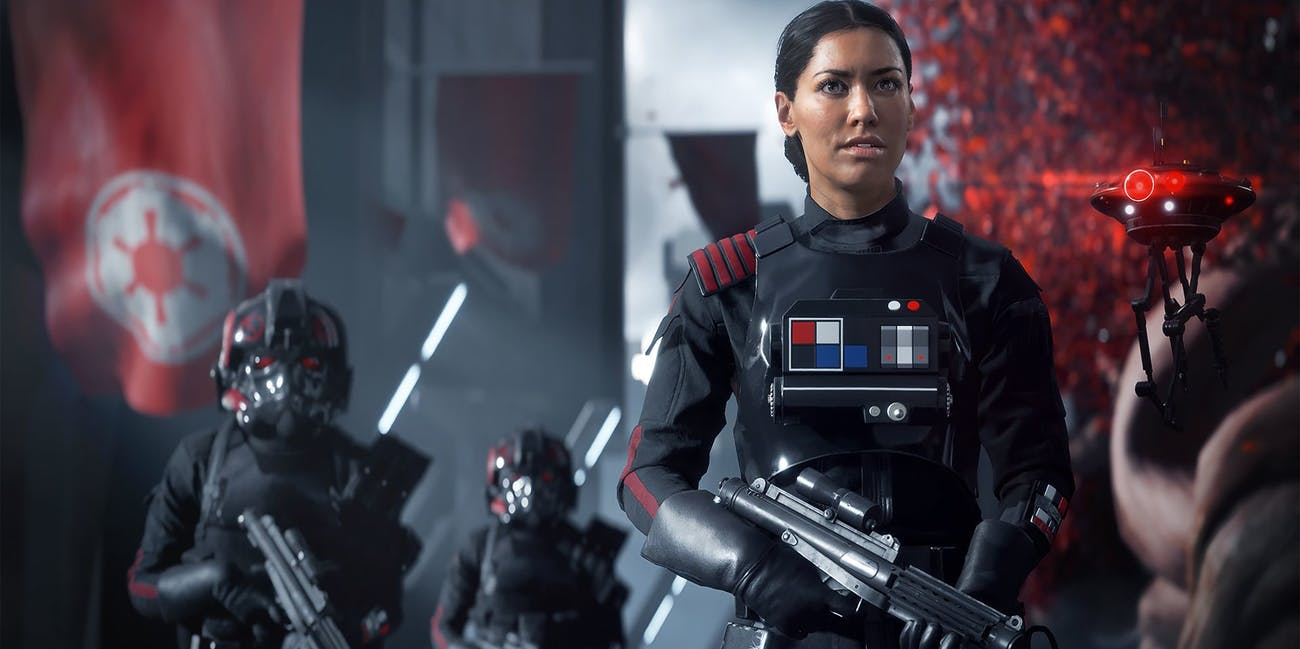 Janina Gavankar plays Inferno Squad Commander Iden Versio in 'Star Wars: Battlefront II'.