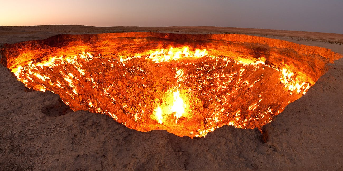 """The """"door to hell"""" is about the size of two basketball courts."""