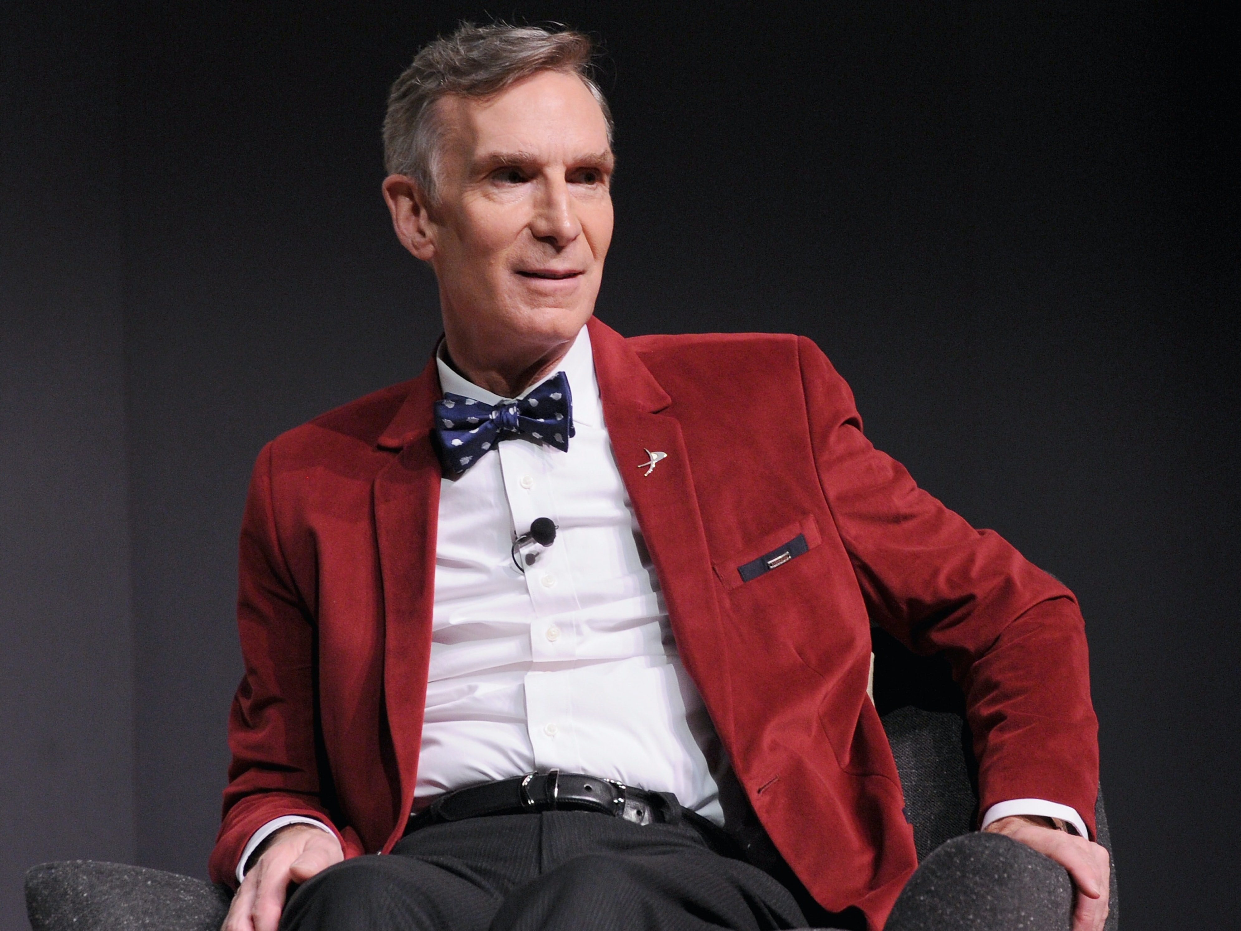 NEW YORK, NY - NOVEMBER 10:  Educator Bill Nye speaks onstage during 'How Creativity Fuels Science With Steve Aoki And Bill Nye' at The Fast Company Innovation Festival on November 10, 2015 in New York City.  (Photo by Craig Barritt/Getty Images for Fast Company)
