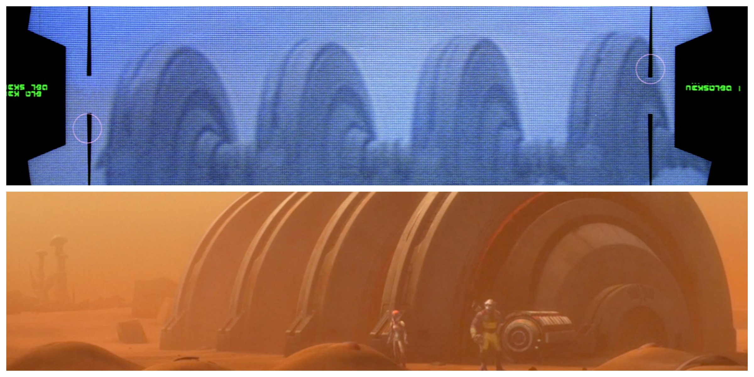 "TOP: The shield generator in 'The Empire Strikes Back. BOTTOM: Zeb and Sabine extract ""the core"" from the shield generator on Geonosis"