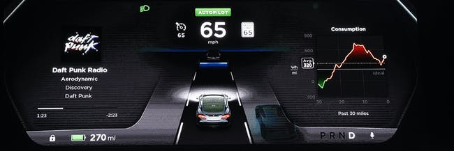 HAWTHORNE  CA - OCTOBER 09: The new dashboard of Tesla 'D' model electric sedan is seen on a giant screen during Elon Musk's , CEO of Tesla, unveiling of the dual engine chassis of the new Tesla 'D' model, a faster and all-wheel-drive version of the Model S electric sedan, at the Hawthorne Airport October 09, 2014 in Hawthorne, California. The D will be able to accelerate to 60 miles per hour in just over 3 seconds. (Photo by Kevork Djansezian/Getty Images)