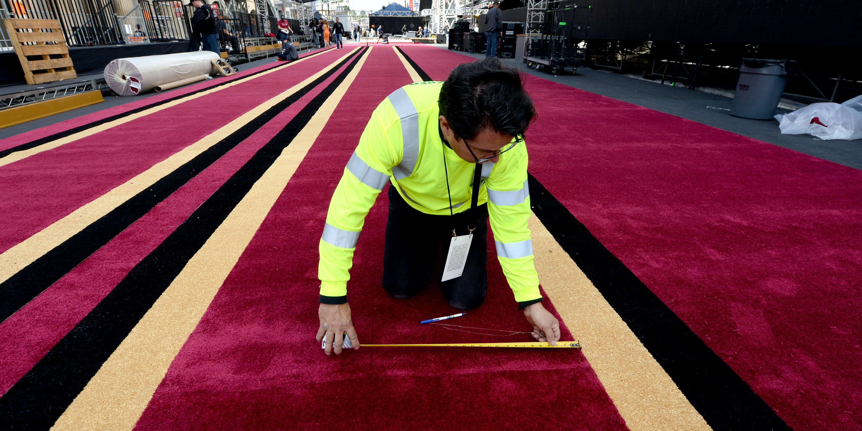 LOS ANGELES, CA - FEBRUARY 22:  The red carpet is rolled out as preparations continue for the 89th Academy Awards at Hollywood and Highland Center on February 22, 2017 in Los Angeles, California.  (Photo by Kevork Djansezian/Getty Images)