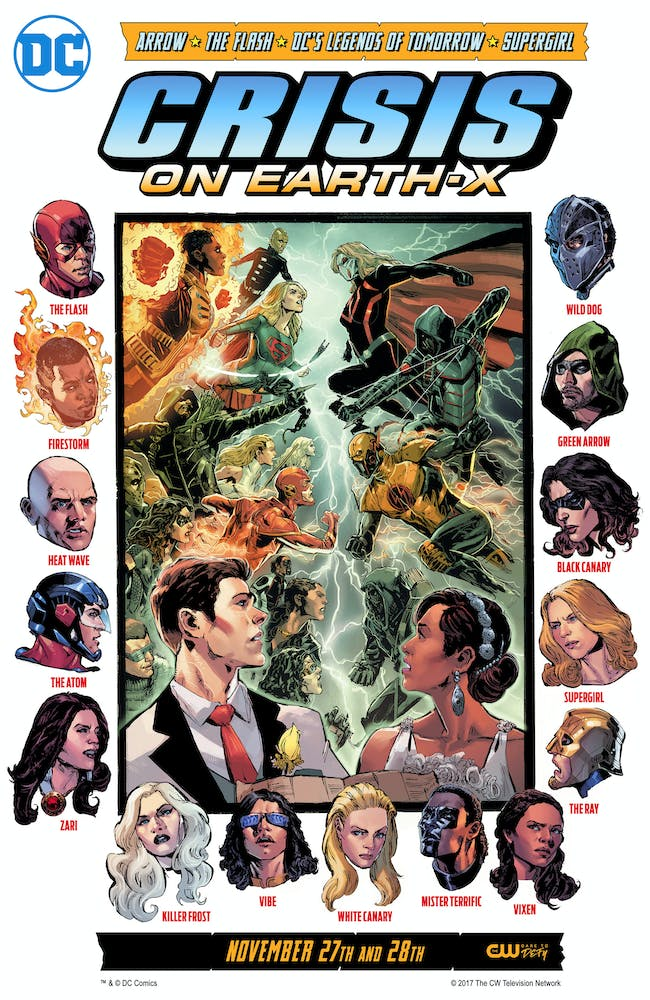 The CW's comic book-style cover art for the crossover event features all of the characters.