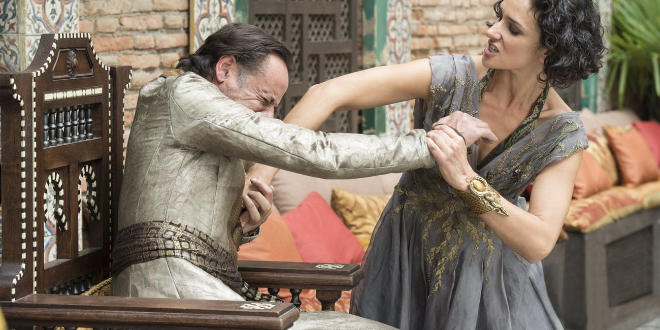 Ellaria Sand betrays Doran Martell and stabs him to death.