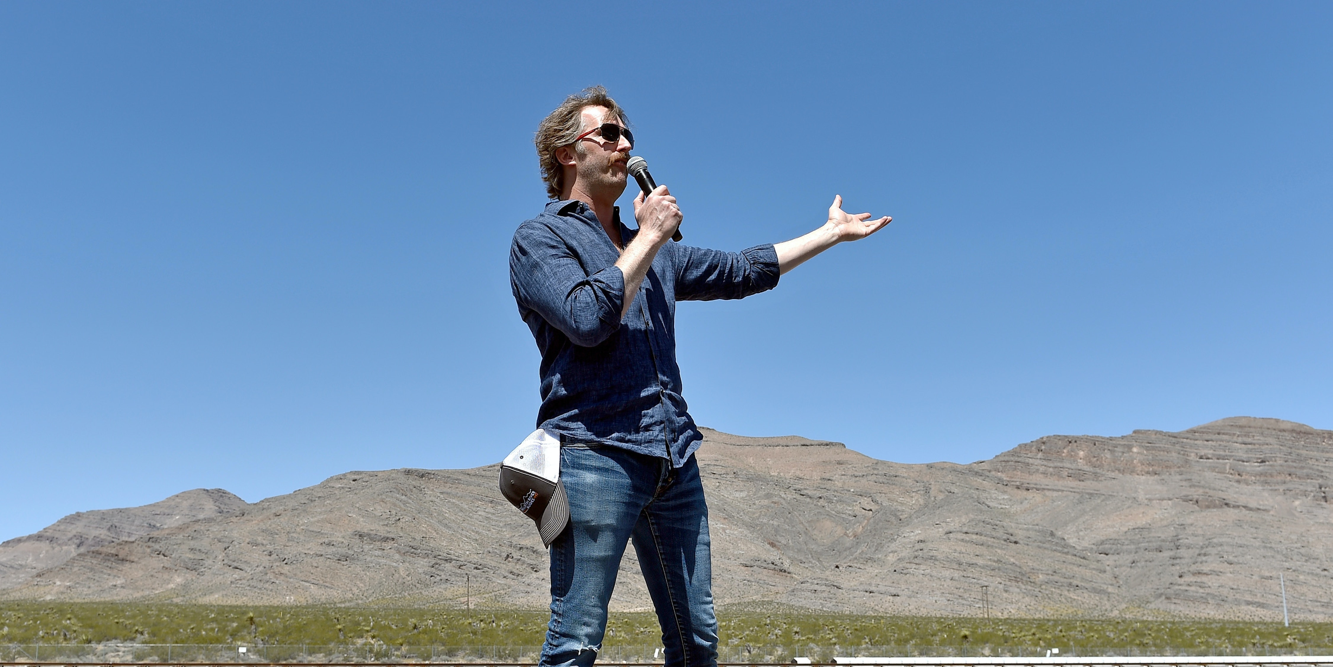 NORTH LAS VEGAS, NV - MAY 11:  Hyperloop One Co-Founder & Chief Technology Officer Brogan BamBrogan speaks during the first test of the propulsion system at the Hyperloop One Test and Safety site on May 11, 2016 in North Las Vegas, Nevada. The company plans to create a fully operational hyperloop system by 2020.  (Photo by David Becker/Getty Images,)