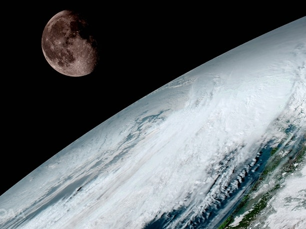 A Weather Satellite Snapped a Stunning Photo of the Moon Circling Earth