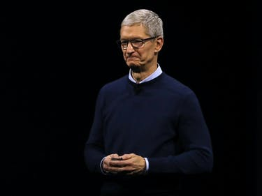 SAN JOSE, CA - JUNE 05: Apple CEO Tim Cook delivers the opening keynote address the 2017 Apple Worldwide Developer Conference (WWDC) at the San Jose Convention Center on June 5, 2017 in San Jose, California. Apple CEO Tim Cook kicked off the five-day WWDC with announcements of a a new operating system, a new iPad Pro and a the HomePod, a music speaker and home assistant. WWDC runs through June 9. (Photo by Justin Sullivan/Getty Images)