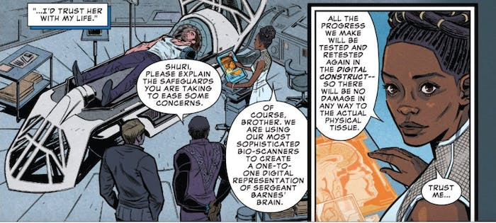 Shuri creates a digital representation of Bucky's brain — basically an A.I. clone.