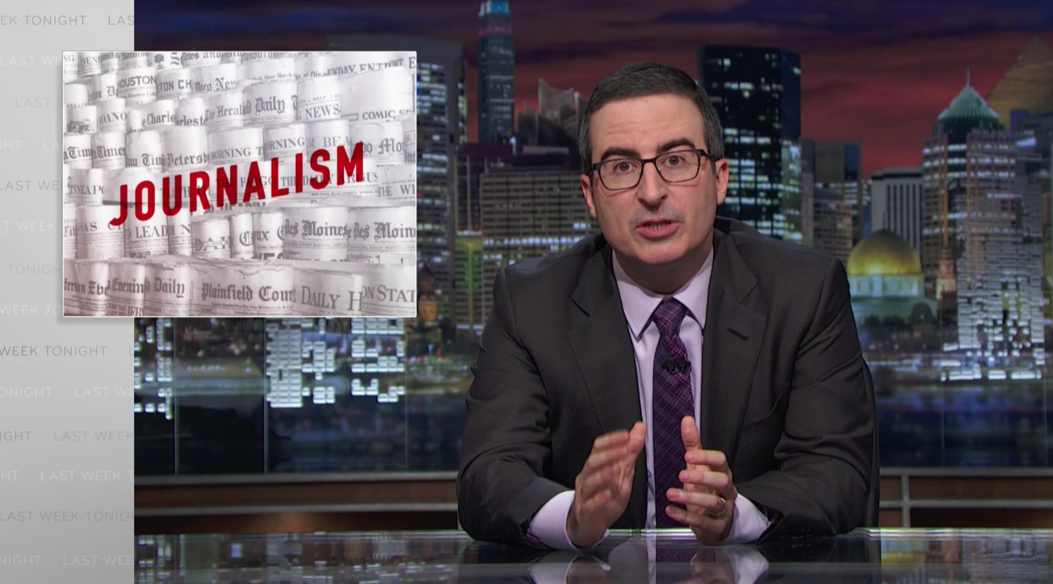 HBO's John Oliver gives a passionate pitch for local newspapers